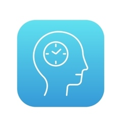 Human head with clock line icon vector