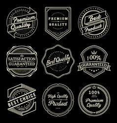 Set of vintage quality product labels vector