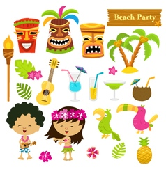 Hawaiian set vector