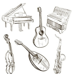 Sketch of musical instruments vector