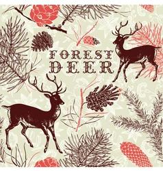 Vintage Forest Deer Background vector image