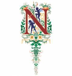 vintage letter n vector image