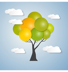 Abstract Tree with Sky Clouds vector image