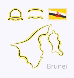 Brunei - outline map and ribbons vector