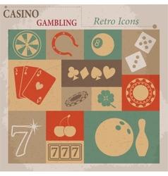 Casino and gambling flat retro icons vector