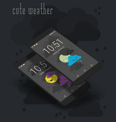 Cute weather moile app screens on 3d smartphone vector