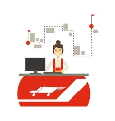 Delivery service company office with manager vector