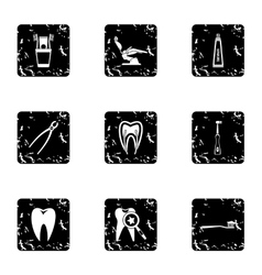Dental clinic icons set grunge style vector