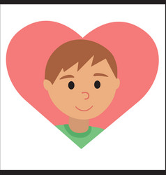 drawing of icon young man in the heart vector image vector image