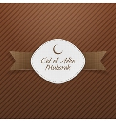 Eid al-adha mubarak tag with ribbon vector