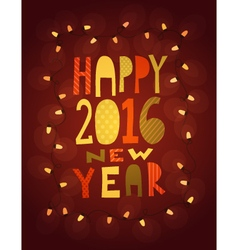 Happy 2016 new year card with garland vector image vector image