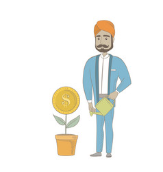 Hindu businessman watering money flower vector