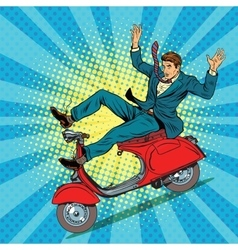 Male driver accident on the scooter vector image