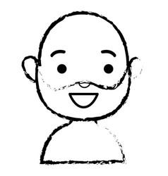Old man shirtless avatar character vector