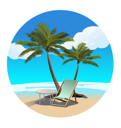 Palms beach and chaise longue vector