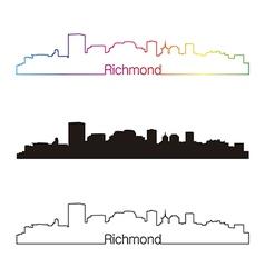 Richmond skyline linear style with rainbow vector