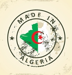 Stamp with map flag of Algeria vector image vector image