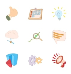 Statistical evidence icons set cartoon style vector