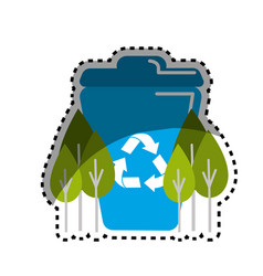 Sticker blue recycle can with plants icon vector