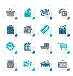 stylized shopping and retail icons vector image