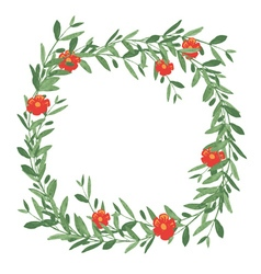 Watercolor olive wreath with red flower vector image