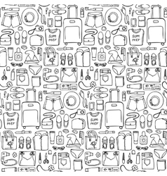 Woman Travel Doodle Seamless Pattern vector image vector image