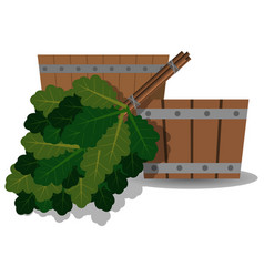 wooden basin and oak broom for a bath vector image