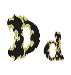 Fiery font black and green letter d on white vector
