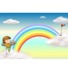 An angel playing golf near the rainbow vector