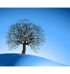 Winter landscape lonely tree vector