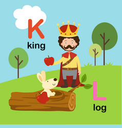 alphabet letter k-king l-log vector image
