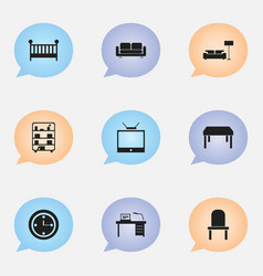 Set of 9 editable interior icons includes symbols vector