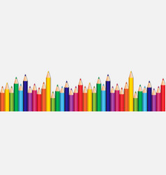 White background with colorful pencils set on edge vector