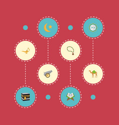 Flat icons holy book mecca bead and other vector