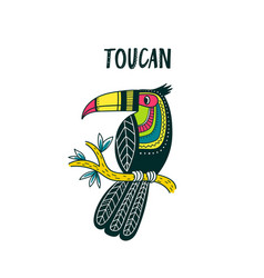 Toucan in colorful tribal ethnic style vector