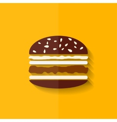 Hamburger icon cheeseburger symbol flat design vector