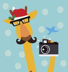 Holiday with giraffe vector