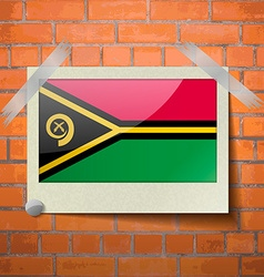Flags vanuatu scotch taped to a red brick wall vector