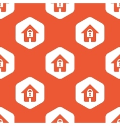 Orange hexagon locked house pattern vector