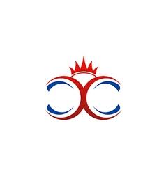 Crown double c abstract logo vector