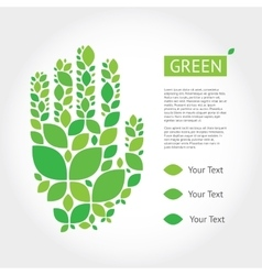 With hands from leaves about green vector