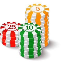 Casino chips on white vector