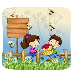 Boy giving flowers to girl vector image