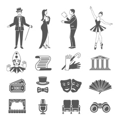 Theatre icons set vector