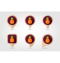 Pineapple mapping pins icons vector