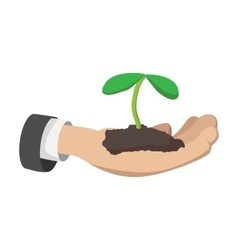 Hand holding young plant cartoon icon vector