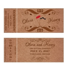 Ticket for wedding invitation with mustache and vector