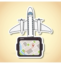 Tablet and travel icon design vector