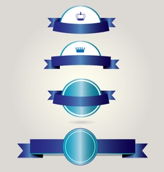 Retro badges with blue ribbons vector