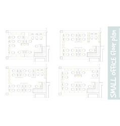 Standard office furniture symbols on floor plans vector